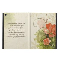 Abstract Peach Green Floral Monogrammed iPad Air