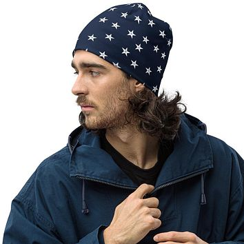 Navy Stars Vintage All-Over Print Beanie