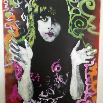 Colorful Acrylic Painting 16x20, Grace Slick Art, Jefferson Airplane, Boho Chic Decor, Canvas Wall Art, Hippie Décor, Psychedelic Art