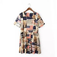 QZ2029 New Fashion Ladies' Elegant American flag print Dress Vintage O neck short sleeve casual loose brand dress plus size
