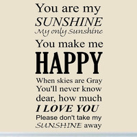 You Are My Sunshine Wall Art Vinyl Decal Nursery Wall Quotes Large Kids Room ...