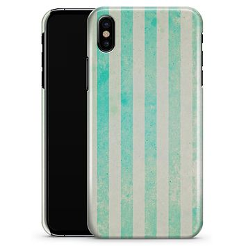 Teal and Green Grunge Vertical Stripes - iPhone X Clipit Case