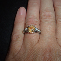 Citrine and Zircon Bold Solitaire Ring