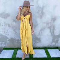 Divine Muse Maxi Dress in Mustard