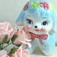 Vtg Porcelain Lamb Planter in Blue and Pink Colors , Baby Boy or Girl Gift Idea