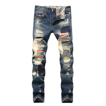 Slim Ripped Holes Pants Jeans [1574711066717]