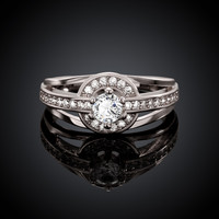One Love White Gold Plated Ring