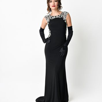 1930s Style Black Crystal Beaded Jersey Fitted Long Gown