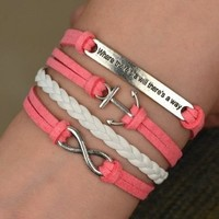 Infinity Anchor Antique Silver Friendship Velvet Leather Cute Bracelet