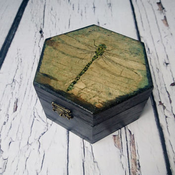 MADE ON ORDER Trinket dragonfly small black box decoupage keepsake gift for her steampunk spooky witch rustic
