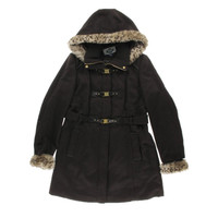 Green with Envy Womens Textured Faux Fur Trim Basic Coat