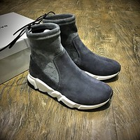 Balenciaga Speed HIGH Scrub Ankle Boots Sport Shoes Grey White Color