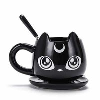 Black Cat Mug with spoon and saucer