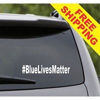 Blue Lives Matter Hashtag # Car Window Windshield Lettering Decal Sticker Decals Stickers Police Cop Cops Policeman