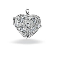 Mothers Day Gifts Sterling Silver Clear CZ Vintage Style Heart Locket Pendant