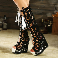 hollow out fashion boots