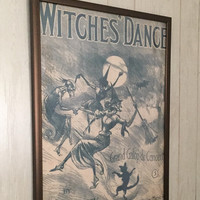 Buy One Get One FREE-Whimsical Fun Wall Art Poster Decor- 2 for price of 1- Witches' Dance Vintage Repro Poster- Unique & Cool Gift Idea