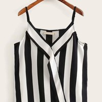 Black & White Striped Cami Top