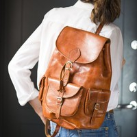 Tan Genuine Leather Backpack Vintage, Unisex Leather Backpack, Travel leather rucksack, Weekend Backpack 90s fashion, Gift Hipster Daypack