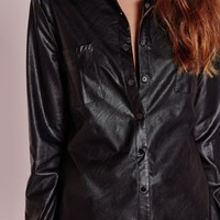 Missguided - Faux Leather Shirt Black