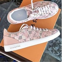 LV Louis Vuitton Sports Shoes Women Leisure White Soles Print Star Shoes B-ALS-XZ Pink