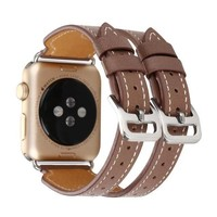 Luxury Genuine Leather loop for Apple Watch band Double Buckle Cuff 38mm 42mm Series 2
