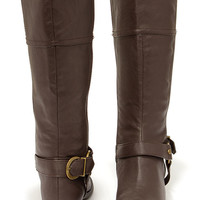 Soda Salsa Brown and Gold Harness Riding Boots
