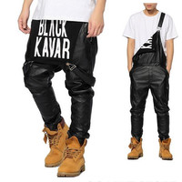 VIP New Arrival Fashion Man Women Mens Hiphop Hip Hop Swag Black Leather Overalls Pants Jogger Urban Clothes Clothing Justin Bieber