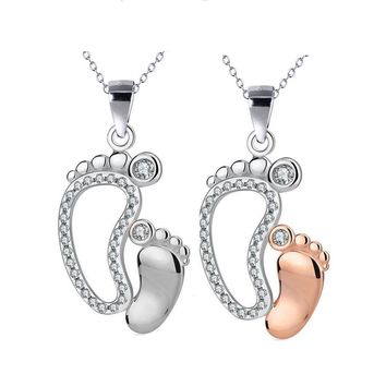 Mother & Child Cz Footprints Woman Necklace