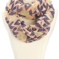 Multi-Color Chevron Infinity Scarf by Charlotte Russe - Peach