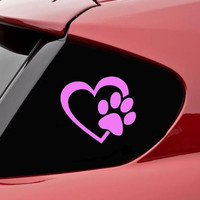 "HEART with DOG PAW Puppy Love 4"" (color: SOFT PINK) Vinyl Decal Window Sticker for Cars, Trucks, Windows, Walls, Laptops, and other stuff."