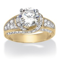 3.51 TCW Round Cubic Zirconia 18k Yellow Gold over Sterling Silver Wedding Band