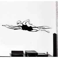 Wall Vinyl Decal Swim Swimming Girl Competition Olympic Gamer Home Decor Unique Gift z4206