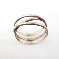 Oxidized Silver Infinity + 1 Ring. Orbital Ring