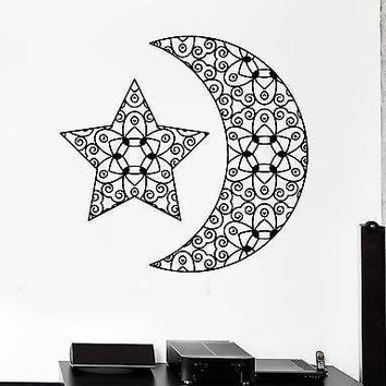 Wall Decal Moon Star Space Ornament Tribal Mural Vinyl Decal Unique Gift (z3192)