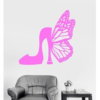 Vinyl Wall Decal Shoes Fashion Butterfly Style Women Girls Room Stickers Unique Gift (ig3174)
