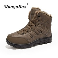 2018 Winter Climbing Mountain Shoes Rubber Bottom Hiking Boots Men Fur Trekking Snow Boots Comfortable Outdoor Hiking Sneakers