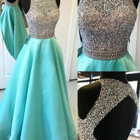 2016 Sexy Open Back Turquoise Crop Top Prom Dresses Long Heavily Beaded Bodice Girls Sparkly Satin Prom Gowns Fast Shipping