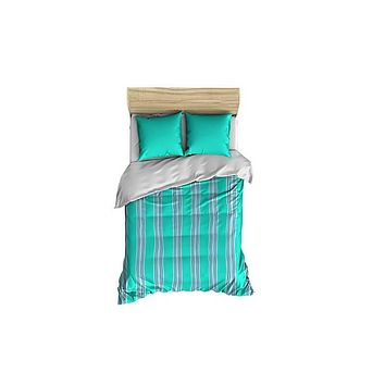 Turquoise and Gray Stripes Small Comforter