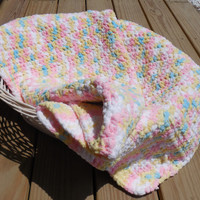Crochet Baby Blanket, Pastel Photo Prop, Baby Girl Soft Afghan, Crib Sized Afghan, Handmade Crochet Afghan