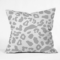 Allyson Johnson Gray Leopard Outdoor Throw Pillow