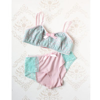Handmade Lingerie 'Forget Me Not' Pastel Pink and Blue by ohhhlulu
