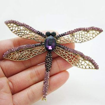 "2.51"" Exquisite Purple Dragonfly Brooch Pin Rhinestone Crystal Party Jewelry"