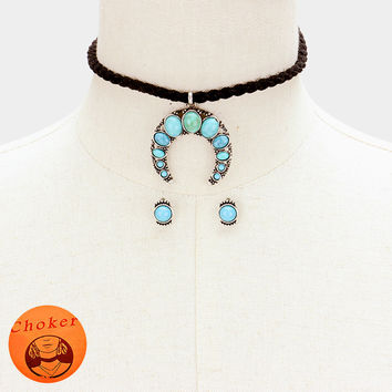 """11.50"""" silver twisted turquoise horn collar choker necklace .40"""" earrings"""