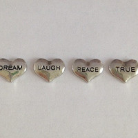 Floating charms for living memory lockets - silver dream heart, silver laugh heart, silver peace heart, silver true heart