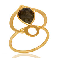 18K Gold Plated Sterling Silver Labradorite Art Deco Statement Ring