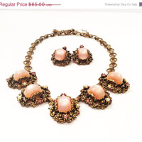 ON SALE Vintage Necklace and Earrings Set Demi, Selro Style, Choker, Pink Moonglow Cabs, Antiqued Setting, Bookchain, 1950s
