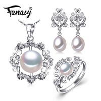 925 Sterling Silver Earrings, Pendant And Ring Set