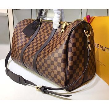 LV Louis Vuitton Printed Travel Bag with High Quality for Male and Female Shoulder Bags Coffee lattice High-quality