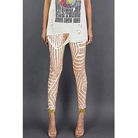 Carmen Sequin High Waisted Ankle Skinny Pants